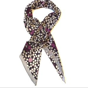 Burberry Painted Flower Dot Silk Scarf in Violet